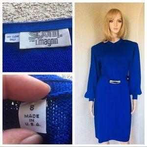 Vintage 80s St. John for.I Magnin blue dress size8